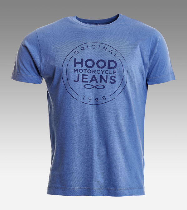 Faded Denim Blue T-shirt | Hood Motorcycle Jeans Logo